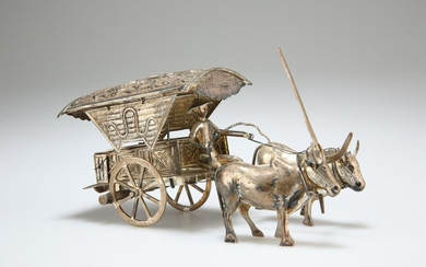 A CONTINENTAL SILVER MODEL OF A CHINESE MAN, OXEN AND
