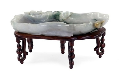 A Chinese Carved Jade Brush Washer.
