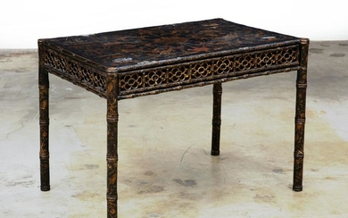A Chinese Export black & gilt lacquer games table