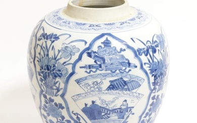 A Chinese Porcelain Ovoid Jar, Kangxi, painted in underglaze blue...