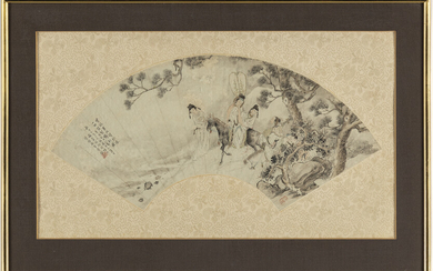 A Chinese fan painting, ink and colour on paper, Qing dynasty, late 19th century.