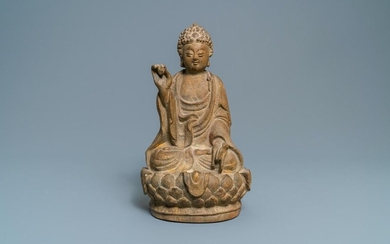 A Chinese sandstone figure of Buddha, Qing