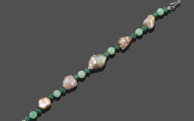 A Baroque Pearl, Emerald and Jade Bracelet, spherical emerald beads...