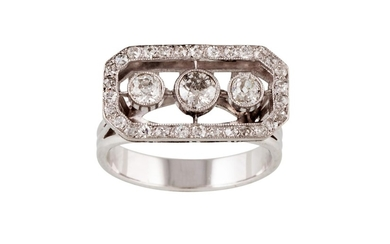 A DIAMOND CLUSTER RING, set with three old cut diamonds, col...