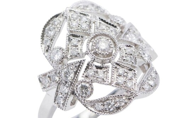 A DIAMOND RING - Of Art Deco style, the pierced plaque set with round brilliant cut diamonds totalling 0.63cts, in millegrain decora...