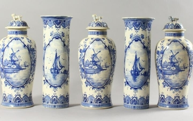 A DUTCH DELFT FIVE PIECE GARNITURE, comprising three
