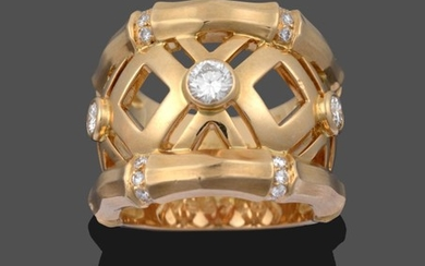 A Diamond Ring, by Cartier, two yellow bamboo link rows...