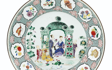 A FAMILLE ROSE 'PRONK ARBOR' LARGE PLATE, QIANLONG PERIOD, CIRCA 1738