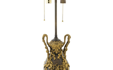 A French Bronze and Gilt Metal Mounted Lamp