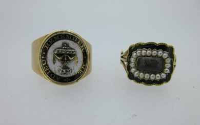 A Georgian diamond and enamel memorial ring and a