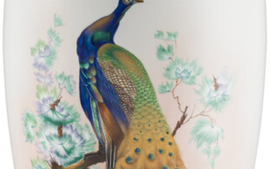 A Large Heinrich Polychromed and Partial Gilt Porcelain Peacock Vase (20th century)