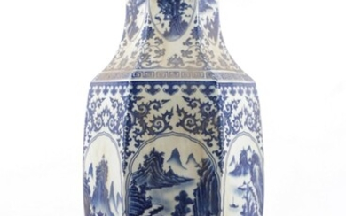 A Large Hexagonal Chinese Blue And White Vase, Decorated With Flowers And A River Scene (H:63cm)