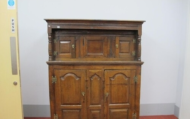 A Late XVII Century Joined Oak Court Cupboard, the top with ...