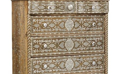 A Levantine inlaid tall chest of drawers