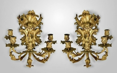 A PAIR OF 19TH C. DORE BRONZE WALL SCONSES