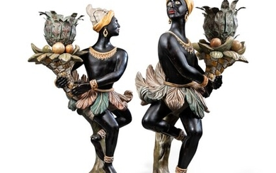 A PAIR OF EBONISED, PARCEL-GILT AND POLYCHROME-PAINTED FIGURAL TORCHERES, SUPPLIED BY MANN & FLEMING, MID-20TH CENTURY