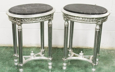A PAIR OF FRENCH STYLE SILVERED WOOD AND MARBLE TOP