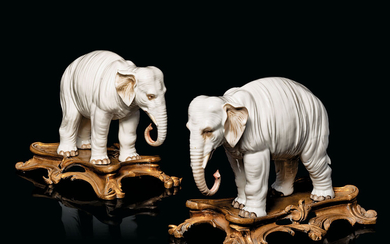 A PAIR OF GILT-METAL-MOUNTED CONTINENTAL PORCELAIN MODELS OF ELEPHANTS, LATE 19TH CENTURY, PROBABLY SAMSON