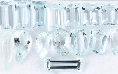 A PARCEL OF UNSET AQUAMARINES; incl. step, baguette, pear, oval and rectangular cushion cut stones, 15 total 39.51ct.
