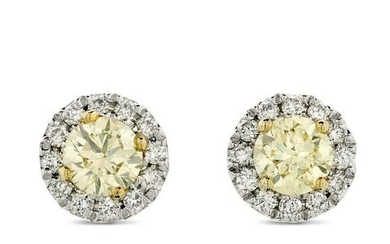 A Pair Of Diamond Halo Stud Earrings 0.57ct NATURAL