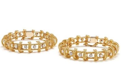 A Pair of Diamond and Gold Bracelets
