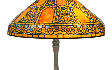 "A RARE TIFFANY STUDIOS LEADED GLASS AND BRONZE ""RUSSIAN"" TABLE LAMP, NEW YORK, 1910"