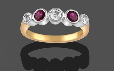 A Ruby and Diamond Five Stone Ring, three round brilliant...
