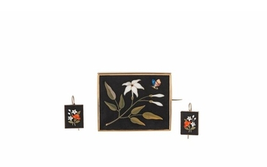 A SUITE OF ANTIQUE PIETRA DURA JEWELLERY, comprising a brooc...