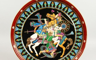 A SUPERB LARGE PORCELAIN CIRCULAR CHARGER, with a