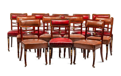A Set of Twelve Baltic Neoclassical Style Leather-Upholstered Mahogany Dining Chairs