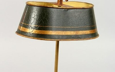 A TOLEWARE CANDLE HOLDER WITH SHADE. 12.5ins high.