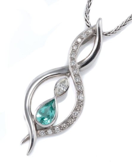 A TOURMALINE AND DIAMOND PENDANT NECKLACE; set with a pear cut Paraiba tourmaline of approx. 0.83ct of strong bluish green colour, s...