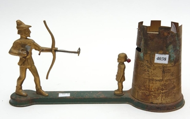 A VINTAGE AUSTRALIAN 'WILLIAM TELL' MECHANICAL BANK, ALUMINIUM AND TIN, STENCILLED TO THE UNDERSIDE 'PATENTS PENDING', 36 CM LONG