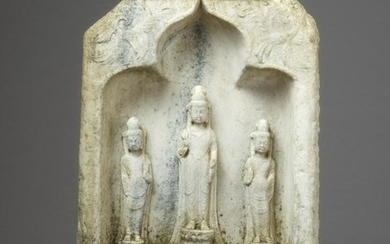 A WHITE MARBLE BUDDHIST STELE, NORTHERN QI DYNASTY