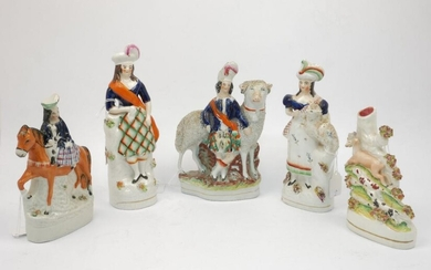 A group of five Staffordshire figures, mid/late...