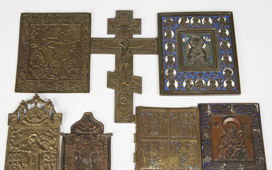 A group of mainly 19th century Russian cast brass icons, including a rectangular enamelled example