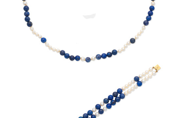 A lapis lazuli and cultured pearl necklace and bracelet