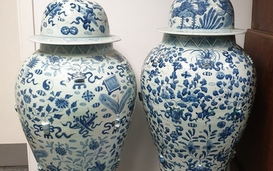 A large pair of 20th Century Chinese blue and white baluster...