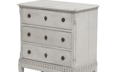 A late 18th century grey painted Louis XVI chest of drawers, front with three drawers flanked by quater columns. H. 83. W. 77. D. 41 cm.