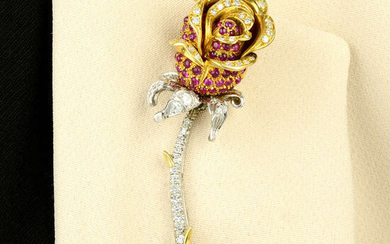 A mid 20th century ruby and diamond rose brooch.