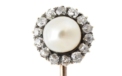 A natural saltwater pearl and diamond stickpin