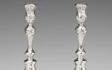 A pair of Swedish 18th century silver candlesticks, mark of Carl Petter Tellander, Jonkoping 1759.