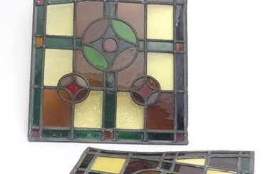 A pair of early 20thC lead and stained glass window /