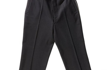 A pair of trousers belonging to the black uniform of