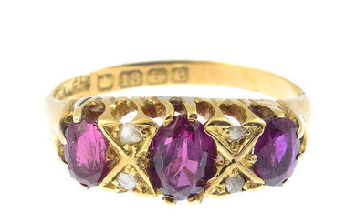 A ruby and diamond dress ring, with 18ct gold replacement band.