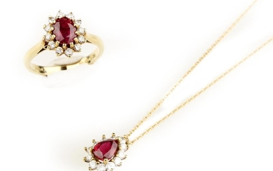 A ruby and diamond pendant with chain, possibly Tiffany & Co., and a ruby and diamond cluster ring