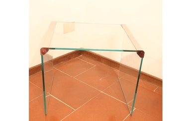 A set of three Gallotti & Radice nest crystal and chromed metal tables