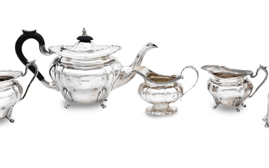 A three piece tea service and further miscellaneous silver