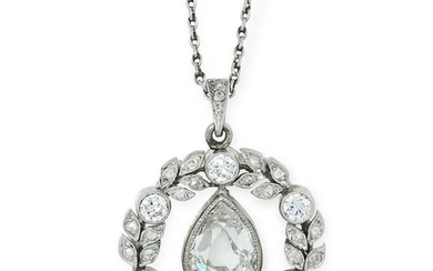 AN ANTIQUE DIAMOND PENDANT set with a central pear cut