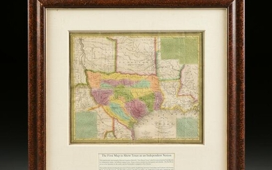 "AN ANTIQUE EARLY REPUBLIC OF TEXAS MAP, ""New Map of"
